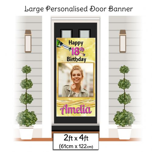 Personalised Happy Birthday Door PHOTO Banner Poster ~ Gold Champagne Burst N19